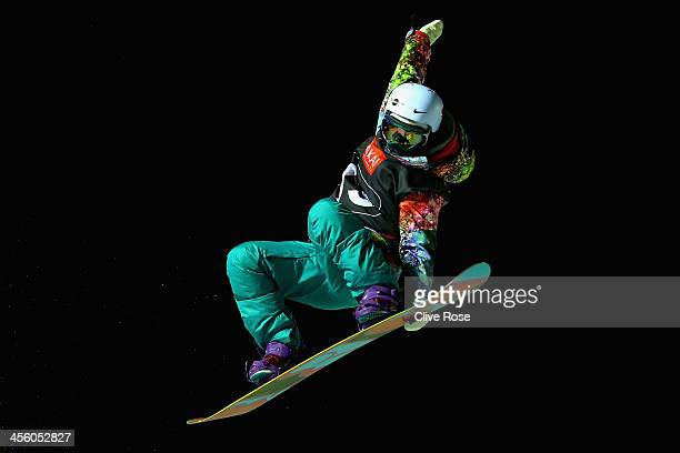 Shuang Li of China competes in the Ladies Snowboard Halfpipe Final during the FIS Snowboard World Cup Ruka on December 13 2013 in Kuusamo Finland