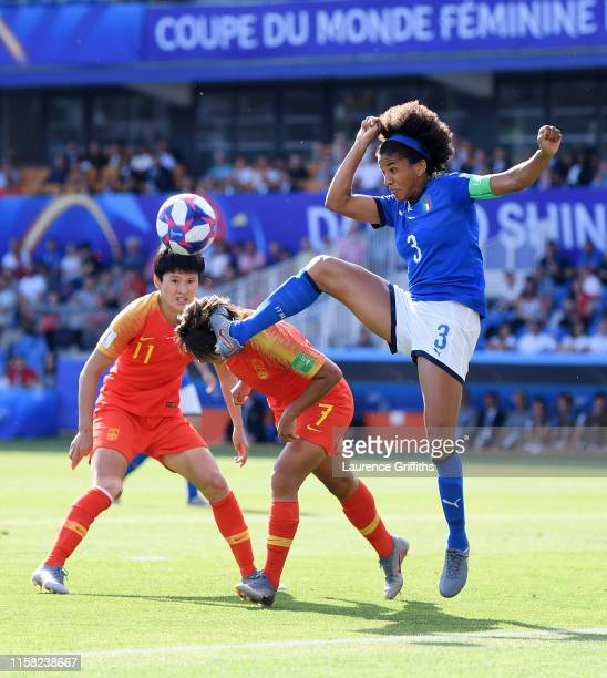 Shuang Wang of China collides with Sara Gama of Italy during the 2019 FIFA Women's World Cup France Round Of 16 match between Italy and China at...