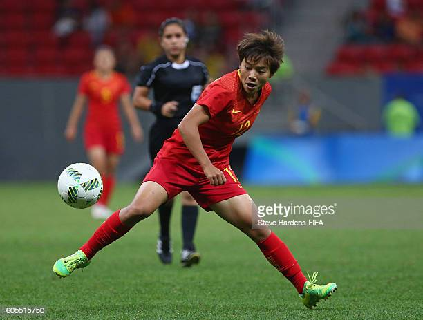 Shuang Wang of China PR in action during the Women's First Round Group E match between China PR and Sweden on Day 4 of the Rio 2016 Olympic Games at...
