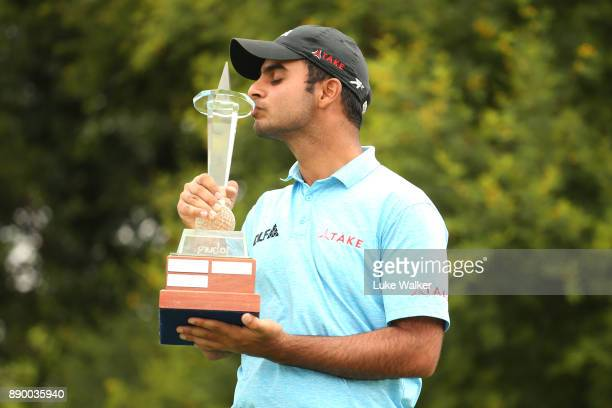 Shubankar Sharma of India with the trophy during the completion of the final round of the Joburg Open at Randpark Golf Club on December 11 2017 in...