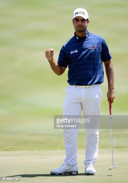 Shubhankar Sharma of India celebrates a birdie putt on the 18th hole during day four of the Maybank Championship Malaysia at Saujana Golf and Country...