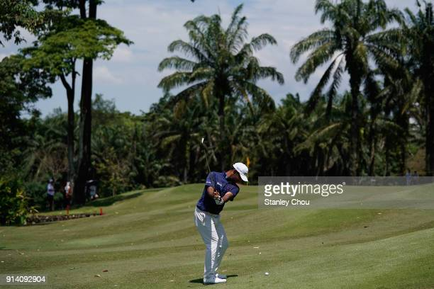 Shubhankar Sharma of India in action during day four of the Maybank Championship Malaysia at Saujana Golf and Country Club on February 4 2018 in...