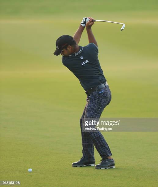 Shubhankar Sharma of India in action during the Pro Am prior to the start of the NBO Oman Open at Al Mouj Golf on February 14 2018 in Muscat Oman