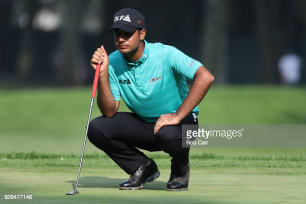 Shubhankar Sharma of India lines up a putt on the 16th green during the second round of World Golf Championships-Mexico Championship at Club de Golf...