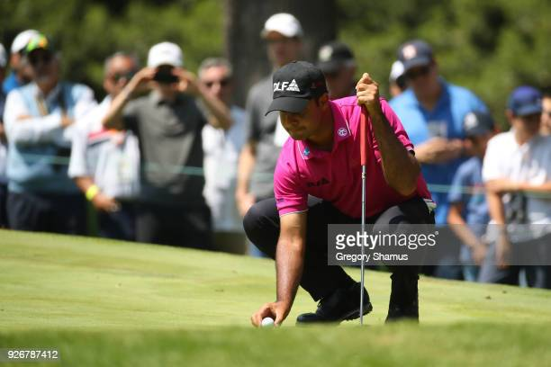 Shubhankar Sharma of India lines up a putt on the second green during the third round of World Golf ChampionshipsMexico Championship at Club de Golf...