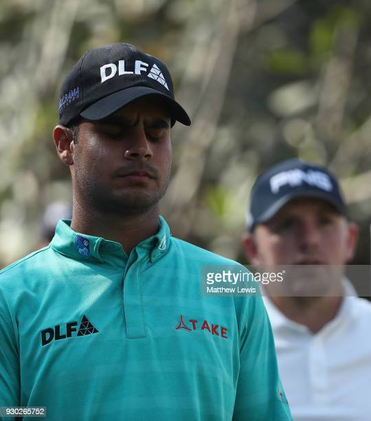Shubhankar Sharma of India looks on during day four of the Hero Indian Open at Dlf Golf and Country Club on March 11 2018 in New Delhi India