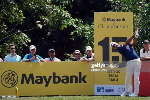 Shubhankar Sharma of India plays a shot during day four of the Maybank Championship Malaysia at Saujana Golf and Country Club on February 4 2018 in...