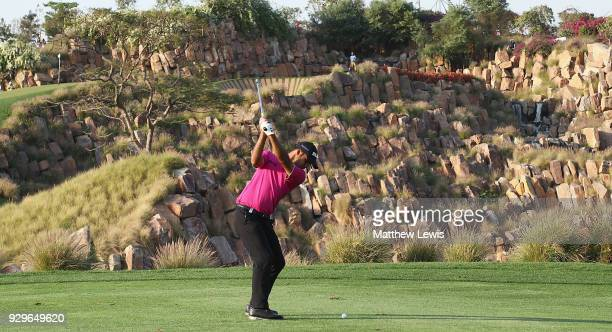 Shubhankar Sharma of India plays his second shot from the 17th fairway during day two of the Hero Indian Open at Dlf Golf and Country Club on March 9...