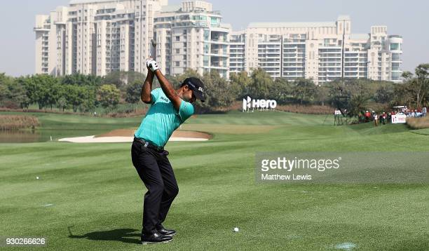 Shubhankar Sharma of India plays his second shot from the6th fairway during day four of the Hero Indian Open at Dlf Golf and Country Club on March 11...