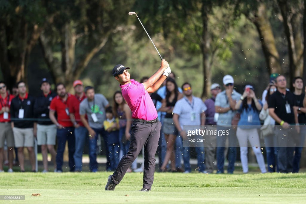 Shubhankar Sharma of India plays his second shot in the 18th tee during the third round of World Golf Championships-Mexico Championship at Club de Golf Chapultepec on March 3, 2018 in Mexico City, Mexico.