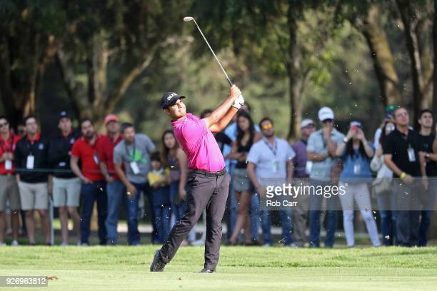 Shubhankar Sharma of India plays his second shot in the 18th tee during the third round of World Golf ChampionshipsMexico Championship at Club de...