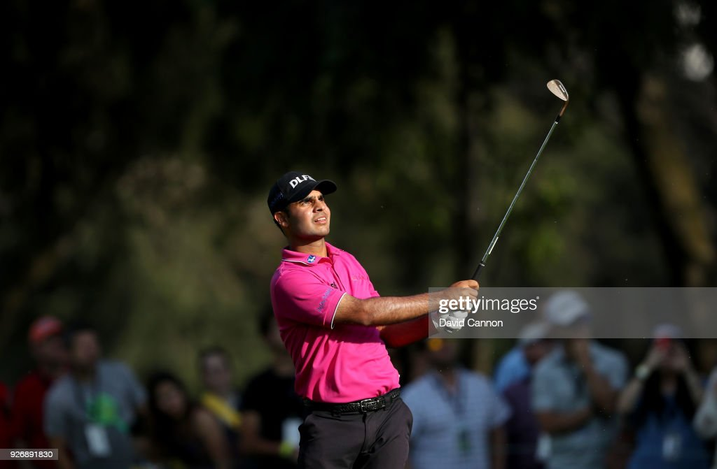 Shubhankar Sharma of India plays his second shot on the 18th hole during the third round of the World Golf Championships-Mexico Championship at the Club de Golf Chapultepec on March 3, 2018 in Mexico City, Mexico.