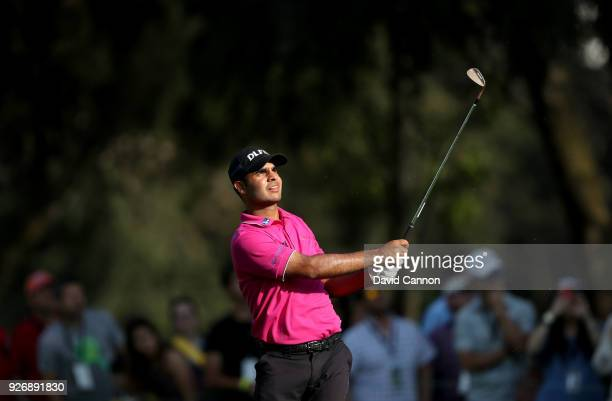 Shubhankar Sharma of India plays his second shot on the 18th hole during the third round of the World Golf ChampionshipsMexico Championship at the...