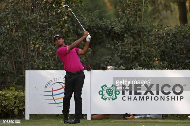 Shubhankar Sharma of India plays his shot from the 17th teeduring the third round of World Golf ChampionshipsMexico Championship at Club de Golf...