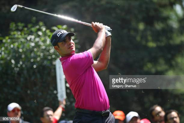Shubhankar Sharma of India plays his shot from the third tee during the third round of World Golf ChampionshipsMexico Championship at Club de Golf...