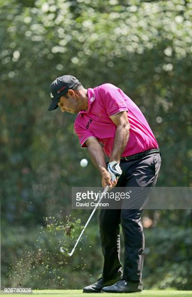 Shubhankar Sharma of India plays his tee shot on the par 3 third hole during the third round of the World Golf ChampionshipsMexico Championship at...