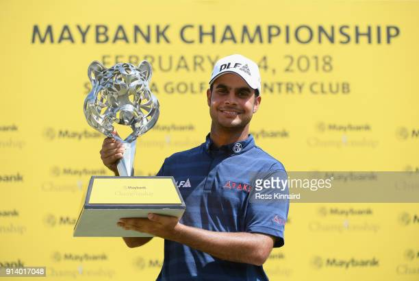 Shubhankar Sharma of India poses with the trophy during day four of the Maybank Championship Malaysia at Saujana Golf and Country Club on February 4...