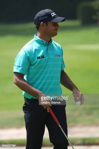 Shubhankar Sharma of India reacts after a putt on the first green during the second round of World Golf Championships-Mexico Championship at Club de...