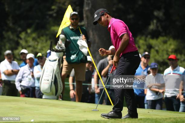 Shubhankar Sharma of India reacts after making a birdie on the third green during the third round of World Golf ChampionshipsMexico Championship at...