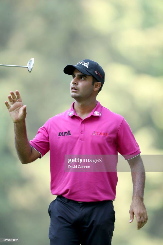 Shubhankar Sharma of India reacts to a missed par putt on the 16th hole during the third round of the World Golf Championships-Mexico Championship at the Club de Golf Chapultepec on March 3, 2018 in Mexico City, Mexico.