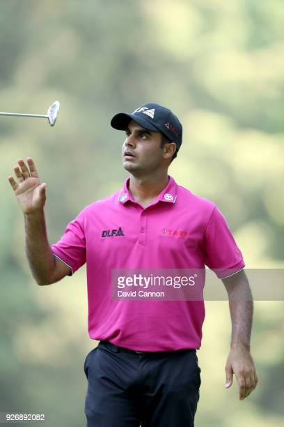 Shubhankar Sharma of India reacts to a missed par putt on the 16th hole during the third round of the World Golf ChampionshipsMexico Championship at...