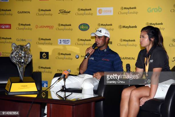 Shubhankar Sharma of India speaks during the post round press conference after he won it 21 under 267 during day four of the Maybank Championship...