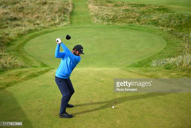 Shubhankar Sharma of India tees off on the 6th hole during Day three of the Alfred Dunhill Links Championship at Carnoustie Golf Links on September...