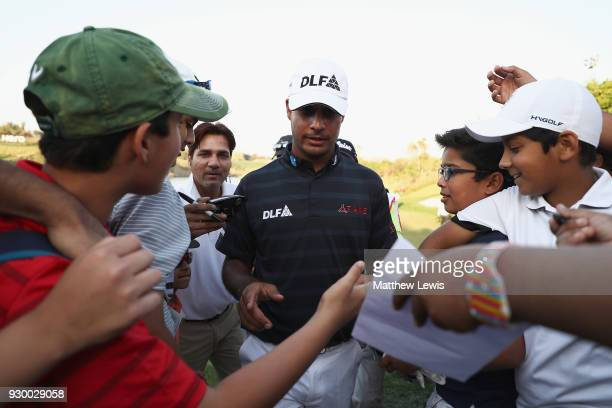 Shubhankar Sharma of India walks off the 18th hole after his round during day three of the Hero Indian Open at Dlf Golf and Country Club on March 10...