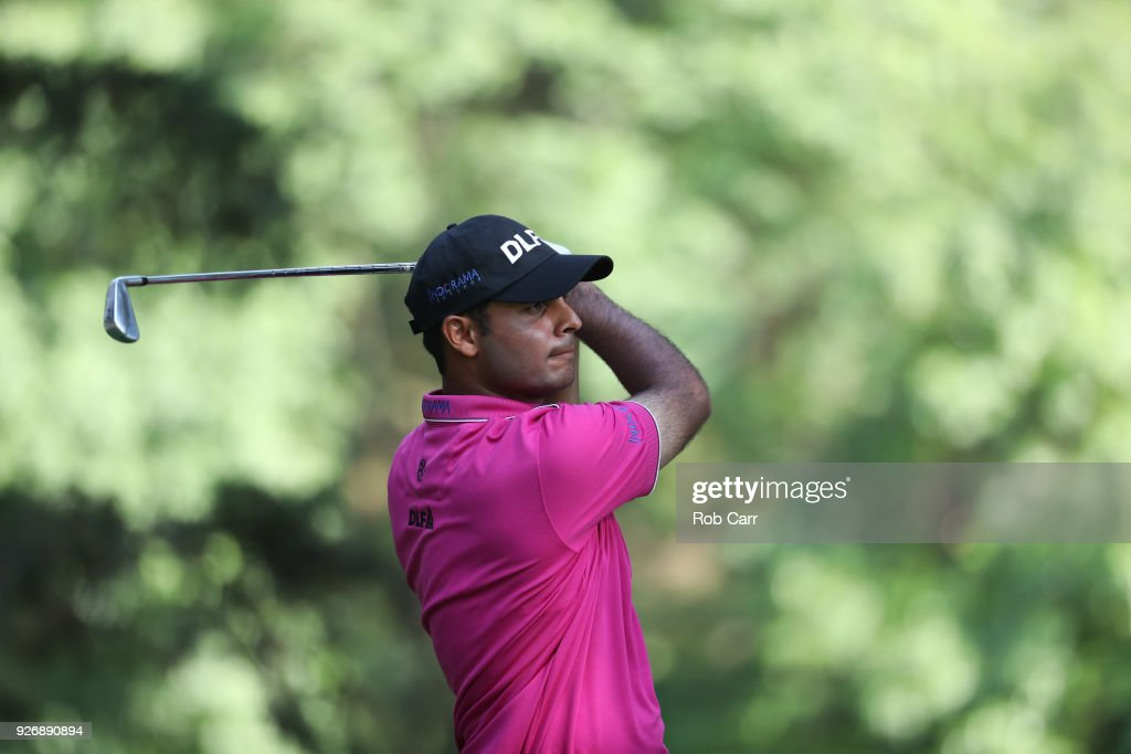 Shubhankar Sharma of Indiaplays his shot from the 16th tee during the third round of World Golf Championships-Mexico Championship at Club de Golf Chapultepec on March 3, 2018 in Mexico City, Mexico.