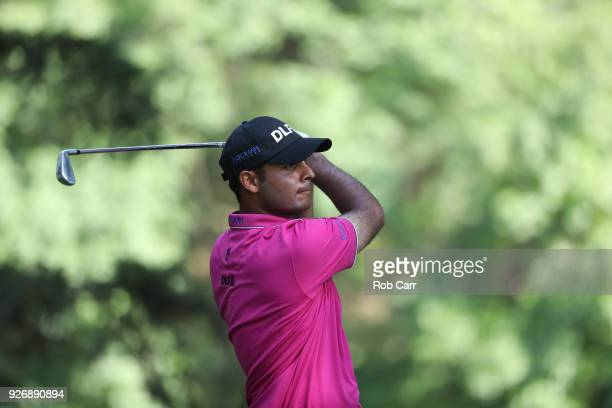 Shubhankar Sharma of Indiaplays his shot from the 16th tee during the third round of World Golf ChampionshipsMexico Championship at Club de Golf...