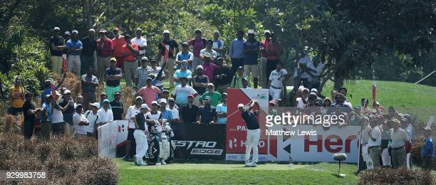 Shubhankar Sharma of Indiatees off on the 3rd hole during day three of the Hero Indian Open at Dlf Golf and Country Club on March 10 2018 in New...
