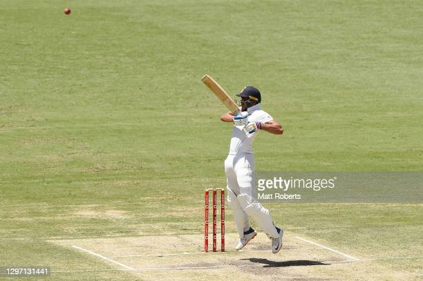 Shubman Gill of India bats during day five of the 4th Test Match in the series between Australia and India at The Gabba on January 19, 2021 in...