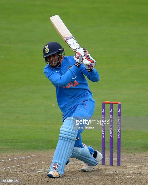 Shubman Gill of India bats during the 4th ODI match between England U19's and India U19's at The County Ground on August 14 2017 in Bristol England