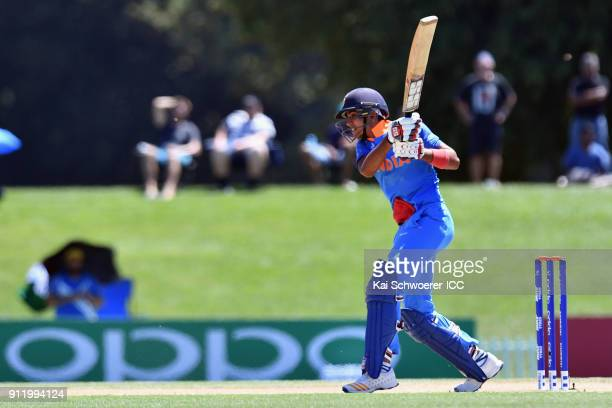 Shubman Gill of India bats during the ICC U19 Cricket World Cup Semi Final match between Pakistan and India at Hagley Oval on January 30 2018 in...