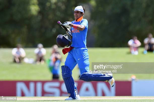 Shubman Gill of India celebrates his century during the ICC U19 Cricket World Cup Semi Final match between Pakistan and India at Hagley Oval on...