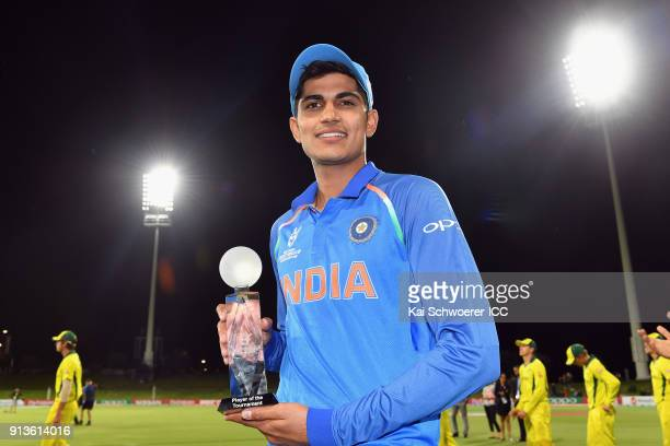 Shubman Gill of India poses with the player of the tournament award after the win in the ICC U19 Cricket World Cup Final match between Australia and...