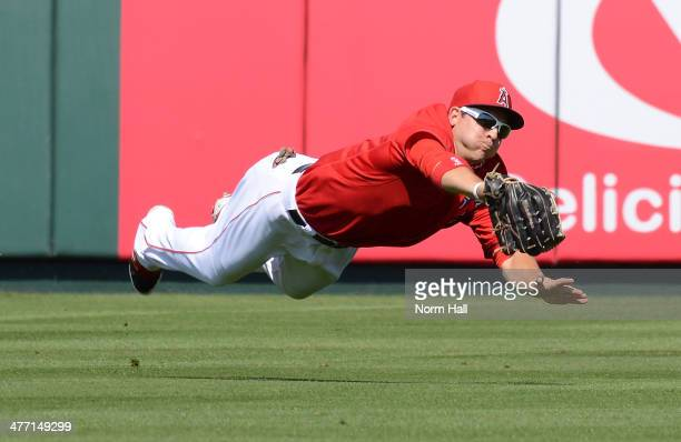 Shuck of the Anaheim Angels makes a diving catch against the Chicago Cubs at Tempe Diablo Stadium on March 7 2014 in Tempe Arizona