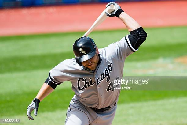 B Shuck of the Chicago White Sox reacts after flying out during the fourth inning against the Cleveland Indians at Progressive Field on April 15 2015...