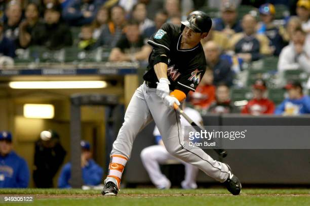 B Shuck of the Miami Marlins grounds out in the second inning against the Milwaukee Brewers at Miller Park on April 20 2018 in Milwaukee Wisconsin