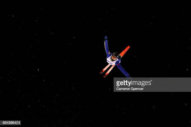 Shudi Wu of China performs an aerial during Aerials training prior to the FIS Freestyle World Cup at Bokwang Snow Park on February 9 2017 in...