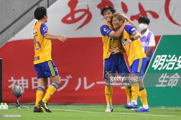 Shuhei Akasaki of Vegalta Sendai celebrates the second goal during the J.League Meiji Yasuda J1 match between Vissel Kobe and Vegalta Sendai at...