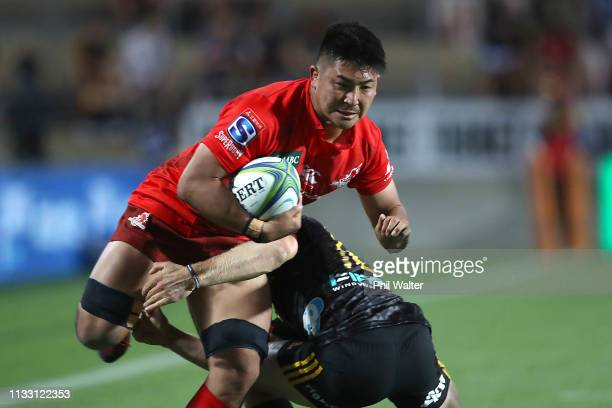 Shuhei Matsuhashi of the Sunwolves is tackled during the round three Super Rugby match between the Chiefs and the Sunwolves at FMG Stadium Waikato on...