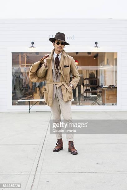 Shuhei Nishiguchi, with Borsalino hat, is seen on January 12, 2017 in Florence, Italy.