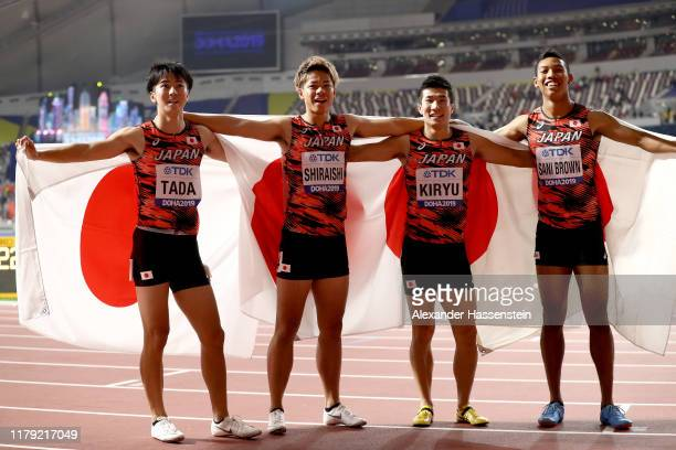 Shuhei Tada Kirara Shiraishi Yoshihide Kiryu and Abdul Hakim Sani Brown of Japan celebrate bronze in the Men's 4x100 Metres Relay during day nine of...