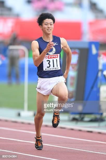 Shuhei Tada of Japan competes in the Men 100m heat 2 during the 101st Japan National Championships at Yanmar Stadium Nagai on June 23 2017 in Osaka...