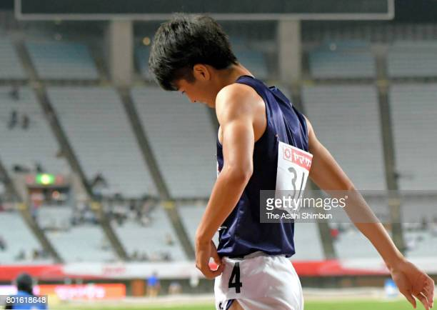 Shuhei Tada reacts after the Men's 100m semi final during day one of the 101st JAAF Athletics Championships at Yanmar Stadium Nagai on June 23 2017...