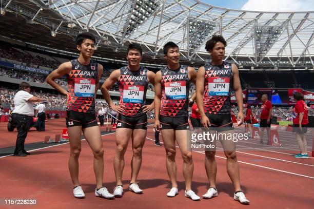 Shuhei Tada, Yuki Koike, Yoshihide Kiryu and Kirara Shiraishi after the 4x100m during the Muller Anniversary Games at the London Stadium, Stratford...