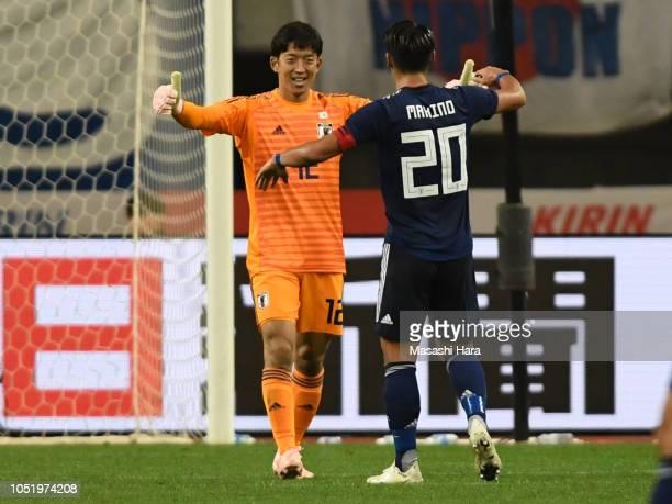 Shuichi Gonda of Japan celebrates the win during the international friendly match between Japan and Panama at Denka Big Swan Stadium on October 12...