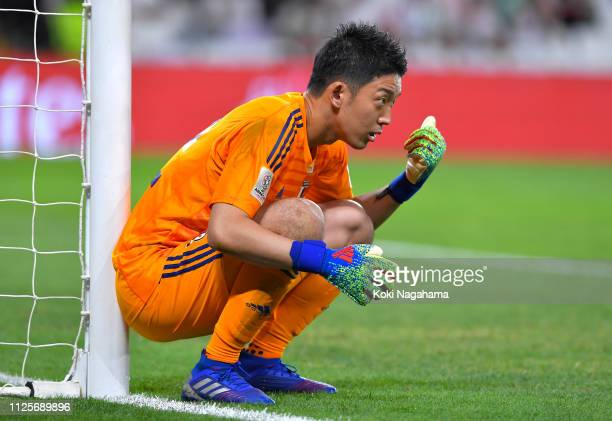 Shuichi Gonda of Japan during the AFC Asian Cup semi final match between Iran and Japan at Hazza Bin Zayed Stadium on January 28 2019 in Al Ain...