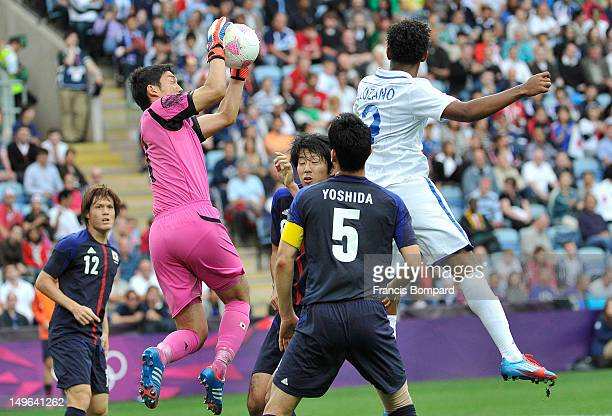 Shuichi Gonda of Japan get the ball during the Men's Football first round Group D Match between Japan and Honduras on Day 5 of the London 2012...